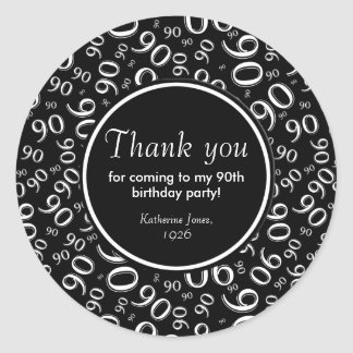 Thank You: Black and White 90th Birthday Party Round Sticker