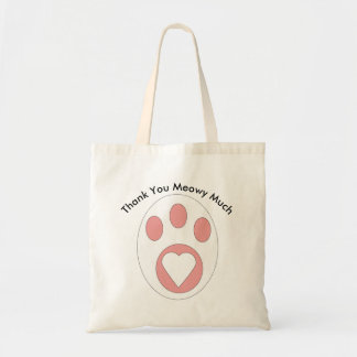 Thank You Black and White Cat Paw Heart Custom Tote Bag