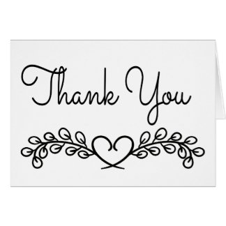 Thank You Black And White Floral Heart Card