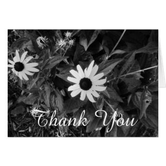 Thank You Black and White Flowers Card
