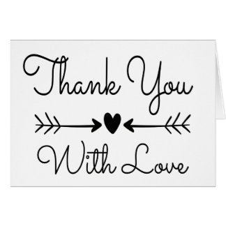 Thank You Black And White Heart & Love Arrows Card