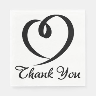 Thank You Black And White Heart Wedding Paper Napkin