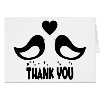 Thank You Black And White Lovebirds & Hearts Card