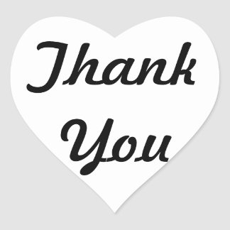 Thank You Black and White Heart Sticker