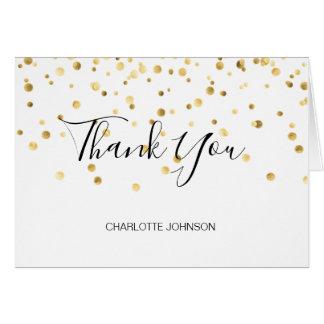 THANK YOU Black Gold Confetti | BLANK Card