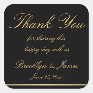Thank You Black Gold Elegant Wedding Stickers