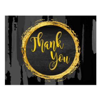 Thank You Black Gold Glitter Circle  Abstract Postcard