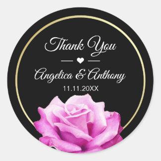 Thank You Black Gold Pink Rose Wedding Seals