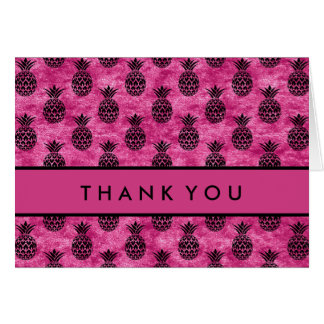 Thank You | Black & Pink Pineapples Card