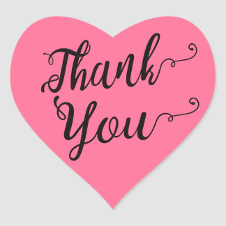 Thank You Black & Pink Wedding Party Heart Sticker