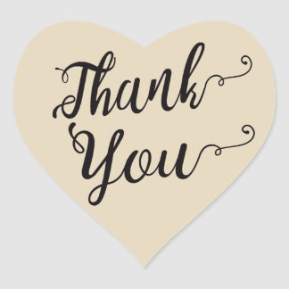 Thank You Black & Tan Brown Wedding Party Heart Sticker
