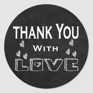 Thank You Black, White Chalkboard Love & Hearts Classic Round Sticker