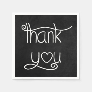 Thank You Black & White Chalkboard Party Napkins Disposable Napkin