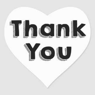 Thank You Black & White Wedding Party Typography Heart Sticker
