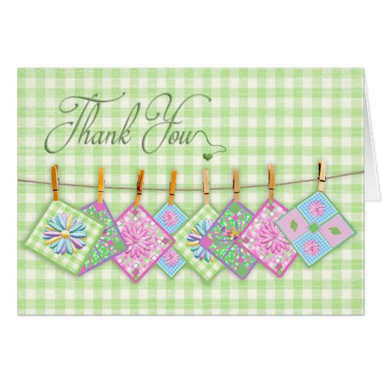 Thank You    Blank  - Quilt Squares on Clothesline Card