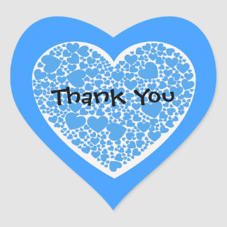 Thank You, blue and white hearts Heart Sticker