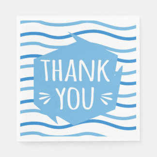 Thank You Blue And White Stripes Wedding Party Paper Napkins
