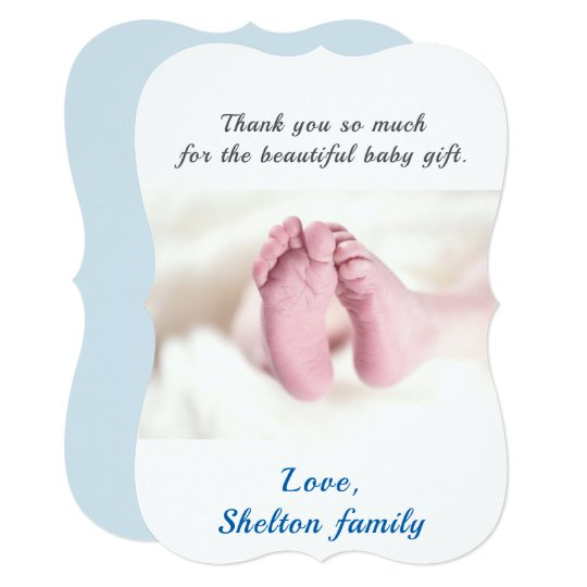 Thank you Blue Baby Shower Boy Photo Card