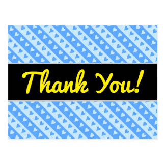 """Thank You!"" + Blue Hearts and Stripes Pattern Postcard"