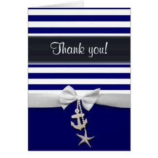 Thank You Blue Nautical stripe & faux white ribbon Card