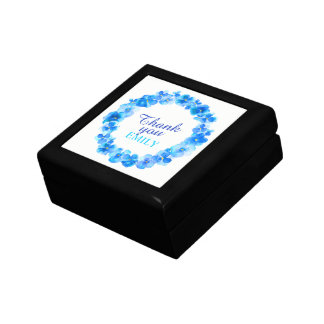 Thank you blue pansies wreath art gift box