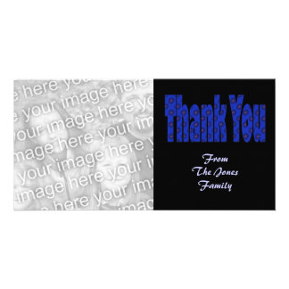thank you blue photo card template