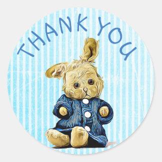 Thank You Blue Vintage Rabbit stickers