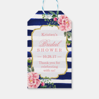 Thank You Bridal Shower Pink Flower Navy Stripes Pack Of Gift Tags