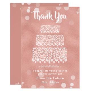 Thank You Bridal Shower Wedding Cake Rose Gold Card