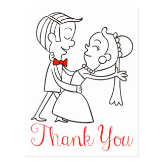 Thank You Bride And Groom Black And White Wedding Postcard