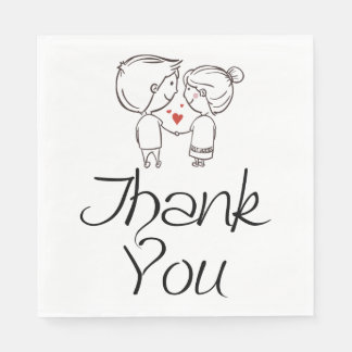 Thank You  Bride And Groom Black Wedding, Party Disposable Napkin