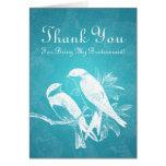 Thank You Bridesmaid Love Birds Blue
