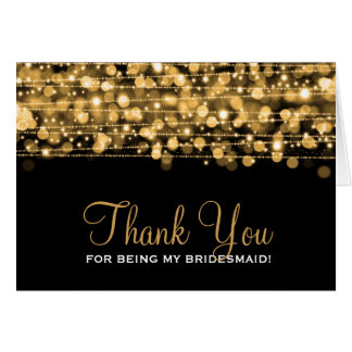 Thank You Bridesmaid Party Sparkles Gold Card
