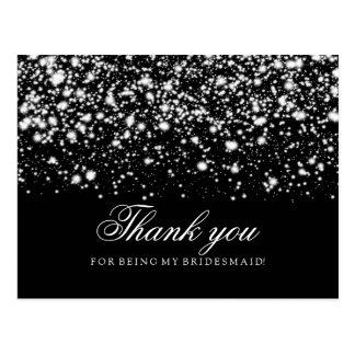 Thank You Bridesmaid Silver Midnight Glam Postcard
