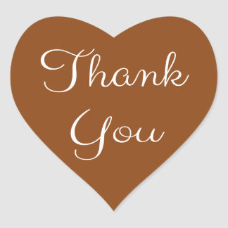 Thank You Brown And White Heart Heart Sticker