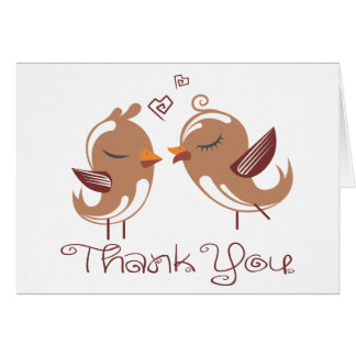 Thank You Brown And White Lovebirds Wedding Birds Card