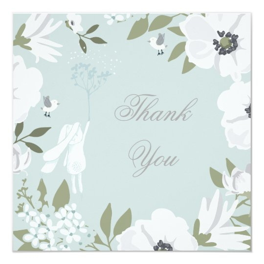 Thank You | Bunny Floral Wreath Boy Baby Shower Card
