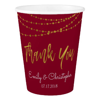 Thank You Burgundy and Gold Foil String Lights Paper Cup