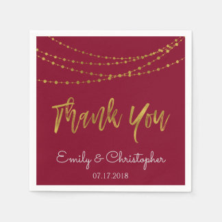 Thank You Burgundy and Gold Foil String Lights Paper Napkin