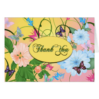 THANK YOU - BUTTERFLIES & FLOWERS STATIONERY NOTE CARD