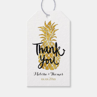 thank you calligraphy on golden pineapple gift tags
