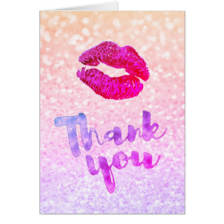 thank you calligraphy red violet lipstick kiss card