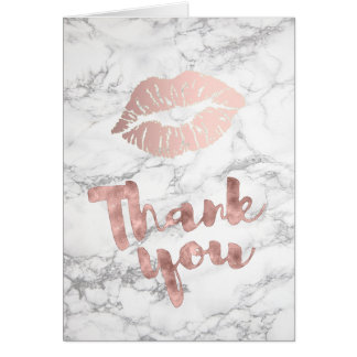 thank you calligraphy rose gold lips on marble card