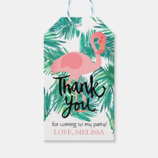 thank you calligraphy tropical leaves flamingo gift tags