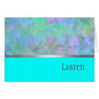 Thank You Card Abstract Design in Turquoise Silver