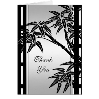 Thank You Card Asian Floral Black Silver Bamboo