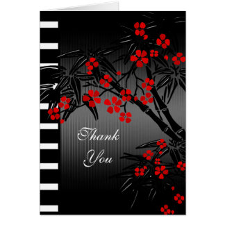 Thank You Card Asian Red Floral Black Bamboo