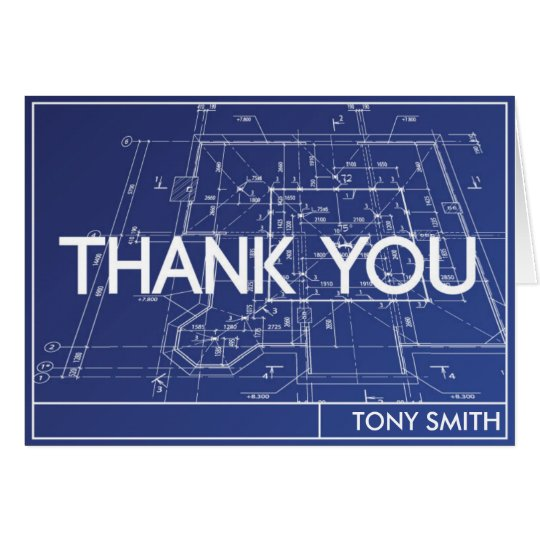 Thank You Card - Blueprint Theme