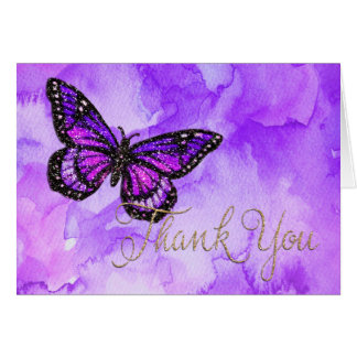 Thank You Card Butterfly Purple and Pink Painted