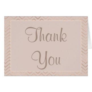 Thank You Card | Champagne Chevron Pattern